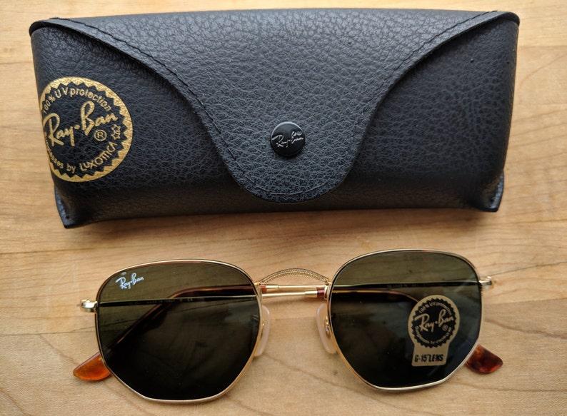 efa20dfdb9 Vintage Hexagonal Sunglasses Rb 3548 G-15 lens Gold frame