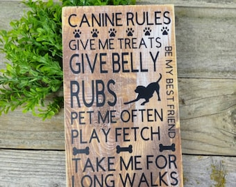 Lessons from A Dog Decorative Signs Tan with Black Lettering My Word