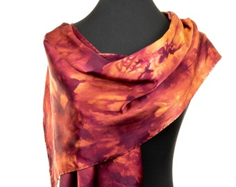 Hand Painted Silk Scarf for Mom, Red Silk Scarf, Silk Scarf in Autumn Reds, orange silk scarf, silk charmeuse scarf