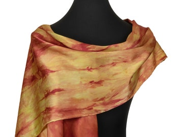 Orange Silk Scarf, Hand Painted Silk Scarf in orange and yellow, Large orange Scarf, silk charmeuse scarf for Mothers Day Gift