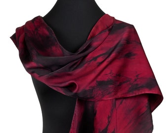 Hand Painted Silk Scarf for Mothers Day Gift, Red and Black Silk Scarf, Long Silk Scarf in Red and Black, Small Red silk scarf,