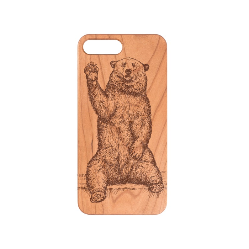 Grizzly Bear Iphone X Xs Xmax Xr 5 6 6s 7 8 9 Plus Samsung Note 8 9 Galaxy S9 Plus S9 S10 S10 Plus S10e Wood Phone Case