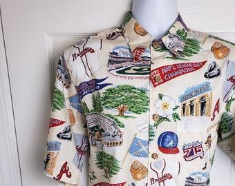 31f7c442 Atlanta Braves Hawaiian Vintage Shirt size Medium by Reyn Spooner