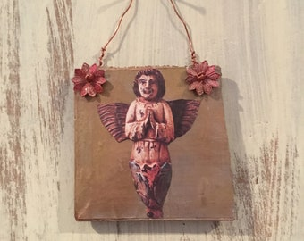 Beautiful everyday angel ornament - reclaimed wood ornament - angel ornament - christmas ornament - vintage assemblage - DOMINICA AND MARIE