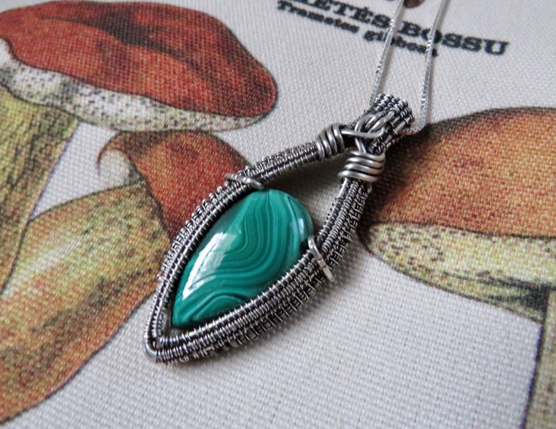 Malachite Sterling Silver Pendant Heady Wire Wrapped Crystal Necklace