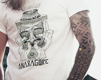 ANAXAGORE, White Cotton Screenprint T-shirt, Limited Edition, Psychedelic Artwork, Infinite Illustration, Cycle, Philosophy, Science.
