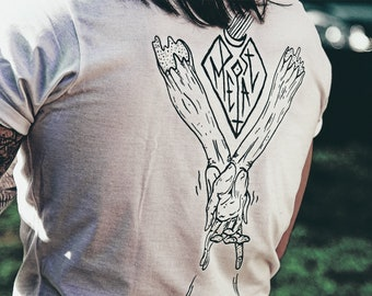 POST-METAL, White Cotton Screenprint T-shirt, Limited Edition, Artwork Metal Music, divine illustration, arms, occultism.
