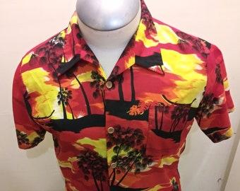 9230421f Palm Wave Mens Hawaiian Shirt Aloha Shirt L Sunset Red