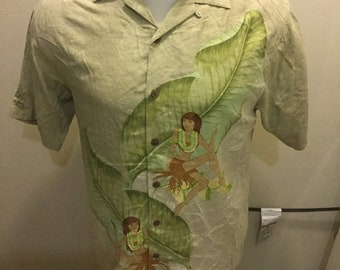 fc2d3c69 TOMMY BAHAMA Men's Small Shirt Hawaiian Silk Camp Hula Girl Cigar Martini  Beige