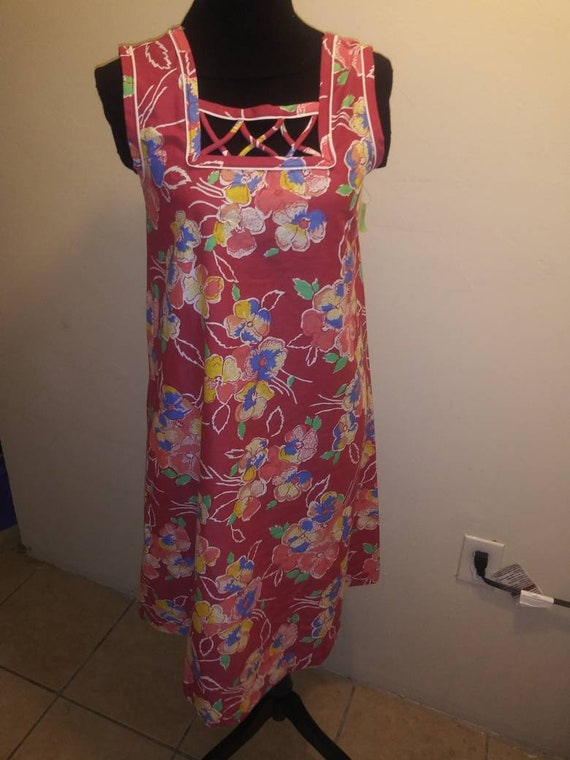 70s maxi floral dress, skater, tunic Medium dress