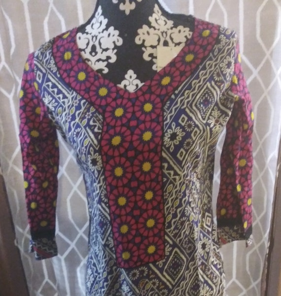 Small Vintage Indian Cotton Dress Ethnic Boho Hipp