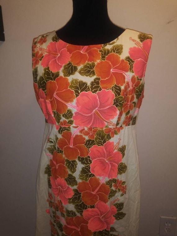 Bright Hibiscus* Hawaii Dress* Ui-Maikai Hawaiian floral *maxi dress*Tiki Dress* Luau Dress