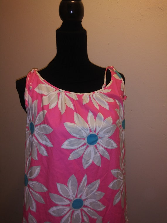 50s Vintage Hot Pink with White Daisy Hawaii Dress