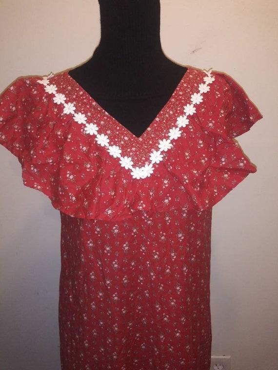 70s Vintage Hilda hawaii Red floral dress