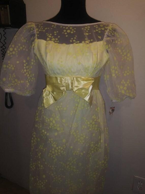 Lemon Yellow* Chifton *60s Prom dress* Prairie*Gun