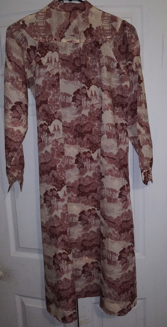 1970s handmade toile beige marroon dress with cast