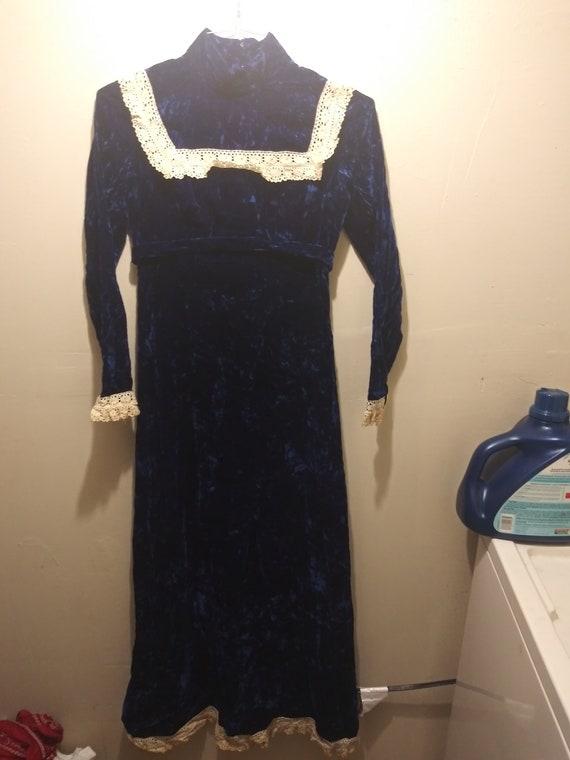 1960's  Royal Blue Velvet Maxi Dress  , Lace Colla