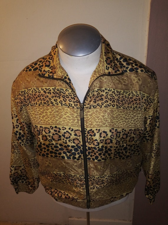 Leopard Print Silk Jacket 80's FUDA INTERNATIONAL - image 1