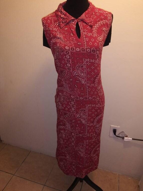 80s Vintage Red Bandanas Dress, Jewel Queen, xxl,