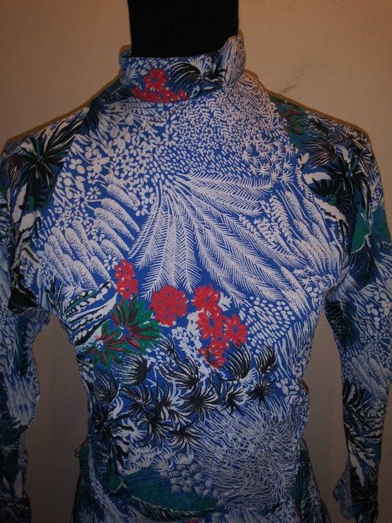 Tropical Flashy* Sexy BareBack Dress* Blue Synthet