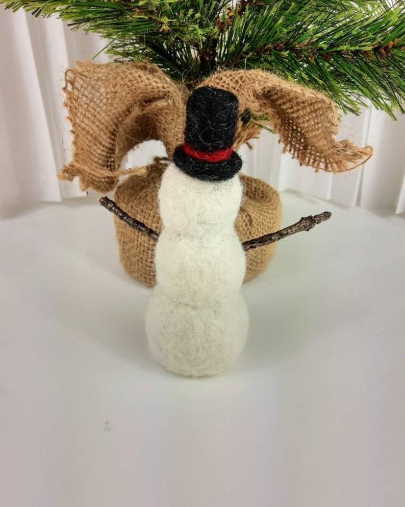handmade Original design needle felted Natural wool soft sculpture Snowman Natural wood arm/'s.