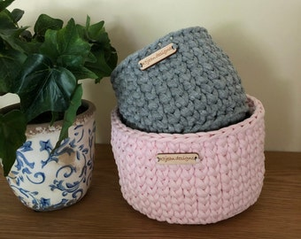 Hand Crafted Crochet Basket, Organizer, Ideal for storing nick knacks, Stunning present ready to be stacked, filled or wrapped and gifted