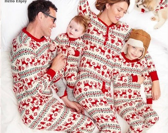 061404d0740 HE Hello Enjoy Christmas Pyjamas For Family Look Mom And Daughter Matching  Clothes Print Red Deer Father Son Sets New Year