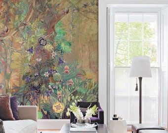 Tropical Forest Mural Wallpaper Repeat, Home Decor Wall Murals, Tropical Jungle Plants and Trees Wallpaper, Wall Decor, Wallpaper ID2018003