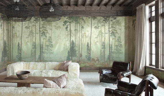 Scenic Forest Panoramic Wallpaper Repeat Mural Home Decor Wall Murals Bear And Cubs Landscape Wallpaper Wall Decor Wallpaper Id2018012