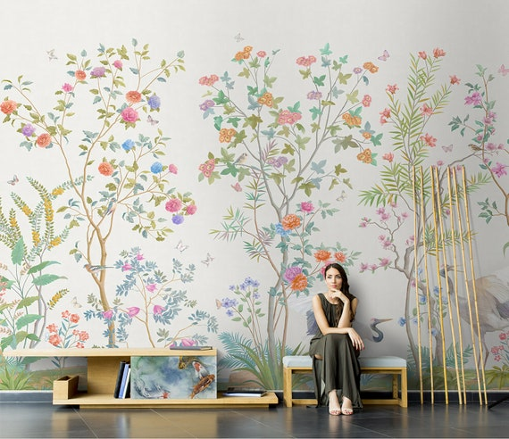 Chinoiserie Mural Wallpaper Repeat Home Decor Wall Murals Blooming Peoni And Flowers Birds Wallpaper Wall Decor Wallpaper Id2018025
