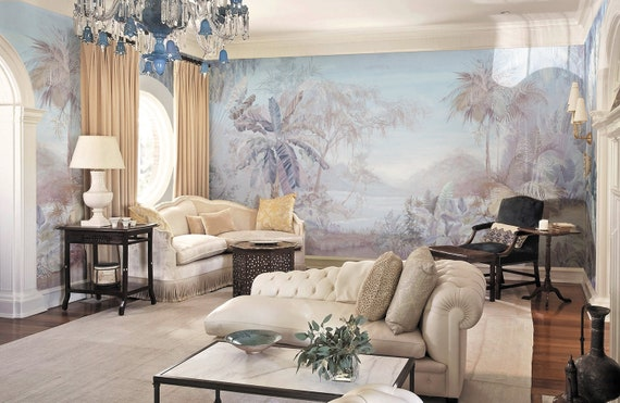Chinoiserie Scenic Panoramic Wallpaper Repeat Mural Home Decor Wall Murals Floral Landscape Wallpaper Wall Decor Wallpaper Id2018015