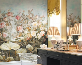 Spring Water Pond Flowers Removable Wallpaper Mural, Floral Blossom Wall Mural, Scenic Wallpaper, Water Lily Wall Decor, Wallpaper ID2018039