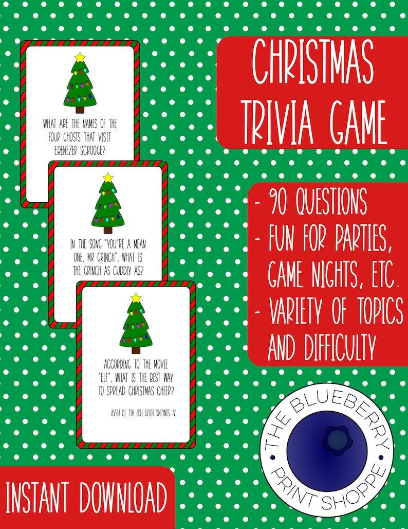 graphic relating to Christmas Trivia Printable identified as Xmas Trivia Match - [Electronic] - [PRINTABLE] - [Playing cards] - Xmas Celebration Activity - Trivia Video game Playing cards