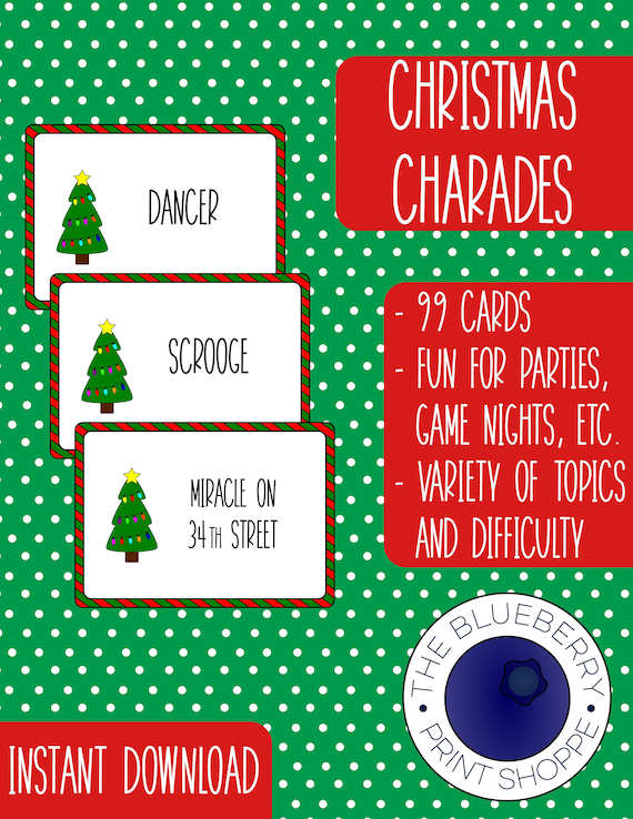 Christmas Charades.Christmas Charades Digital Printable Cards Christmas Party Game Pictionary Hedbanz Catch Phrase Time S Up