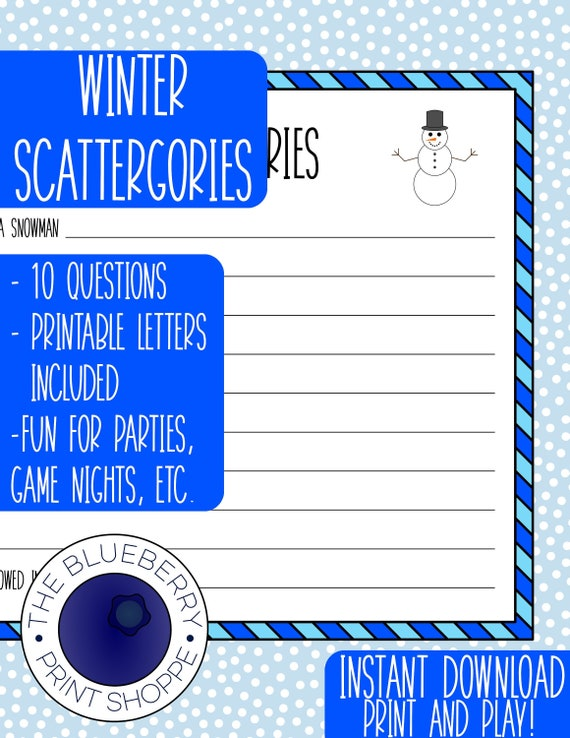 Winter Scattergories Printable Holiday Party Game Etsy