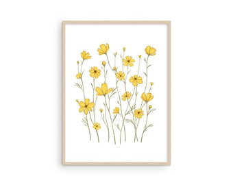 Yellow Flowers Wall Art Sunflower Poster - by Haus and Hues Yellow Wall Pictures Sunflower Wall Art and Yellow Wall Decor for Bedroom 12x16