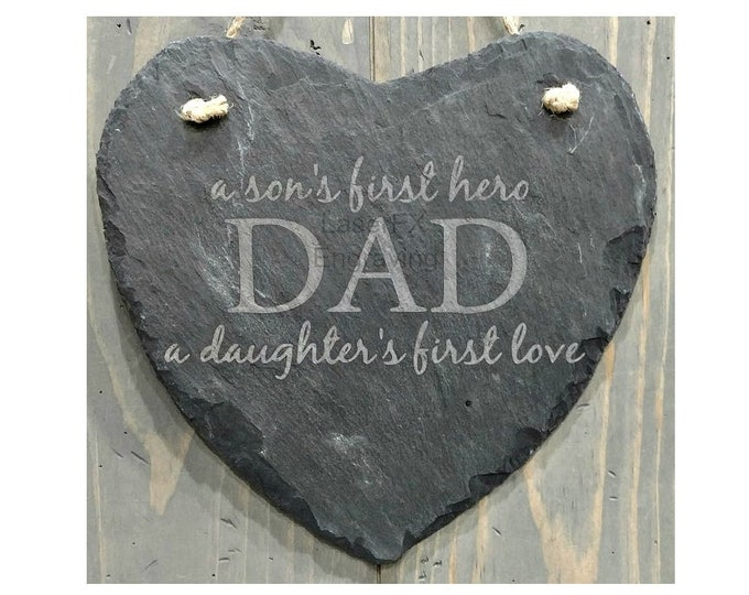 Personalized Slate Heart Plaque - Your Choice of Words/Image, Sons Gift, Dad's Gift, Daughters Gift, Custom Slate Heart,Engraved Slate Heart
