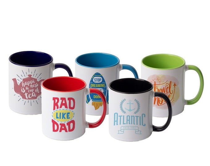 Custom Photo Mugs, Personalized, Your Choice of Photo/Image/Words, 11 oz., Inner Color, Personalized Photo Cups, Custom Designed Cups/Mugs