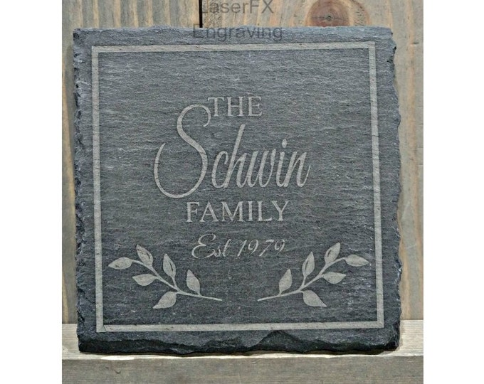 Personalized Slate Coasters, Your Choice of Image/Words, Custom Coasters, Laser Engraved, Set of 4, Personalized Gifts, Housewarming Gifts