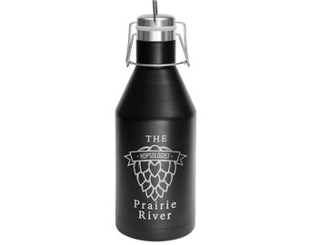 Personalized Growler, Your Choice of Image/Words, 64 oz. Black Vacuum Insulated, Stainless Steel, Custom Growler, Laser Engraved Growler