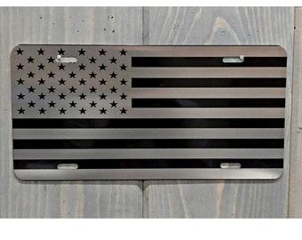 American Flag Laser Engraved License Plate, Laser Engraved License Plate, Vanity Plates, Patriotic License Plate, American Flag Gifts