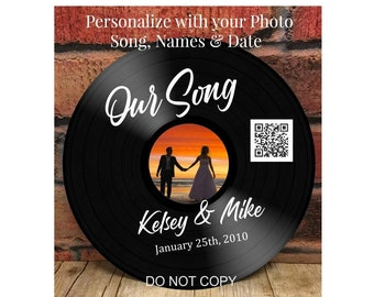 Personalized Vinyl Record Sign, Your Favorite Photo, Song, Names & Date, Custom Vinyl Record Sign Gift, Valentines Gifts, Anniversary Gifts