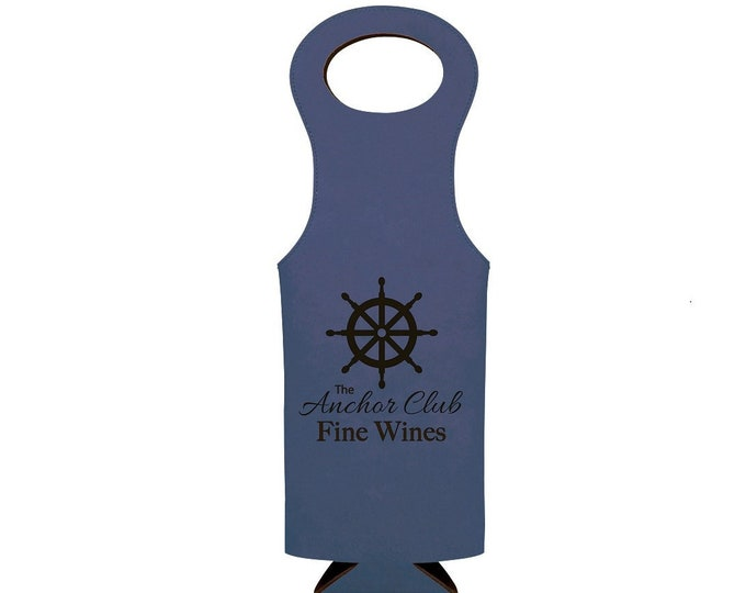 Personalized Leatherette Blue Wine Bag, Your Choice of Image/Words, Custom Wine Bag,Laser Engraved Wine Bag,Personalized Gifts,Wine Gifts