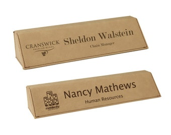 Personalized Leatherette Desk Wedge Tan Name Plate, Your Choice of Image/Words, Laser Engraved,Custom Desk Name Plates,Corporate Name Plates