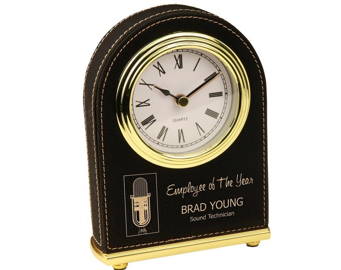 Personalized Leatherette Desk Clock, Your Choice of Image/Words, Black with Gold, Custom Clock, Engraved Clock, Corporate Gifts, Award Gifts