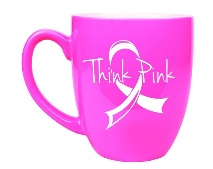 Custom Bistro Hot Pink Mug, Personalized - Your Choice of Image/Words, 16 oz. Custom Coffee Cups, Corporate Gifts, Engraved Coffee Mugs