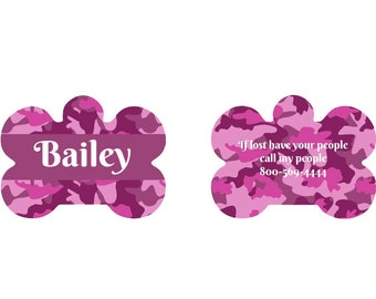 Personalized Pet Tag-Pink Camo, Your Choice of Words, Double Sided Pet Tag, Custom Pet Tag, Personalized Dog Tag, Custom Dog Tag, Pet ID Tag