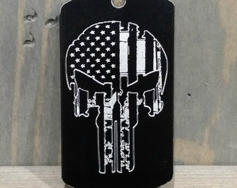 Punisher/American Flag Dog Tag or Personalize It with Your Choice of Image/Words, Men's Necklace, Men's Gifts,Men's Jewelry,Groomsmens Gifts