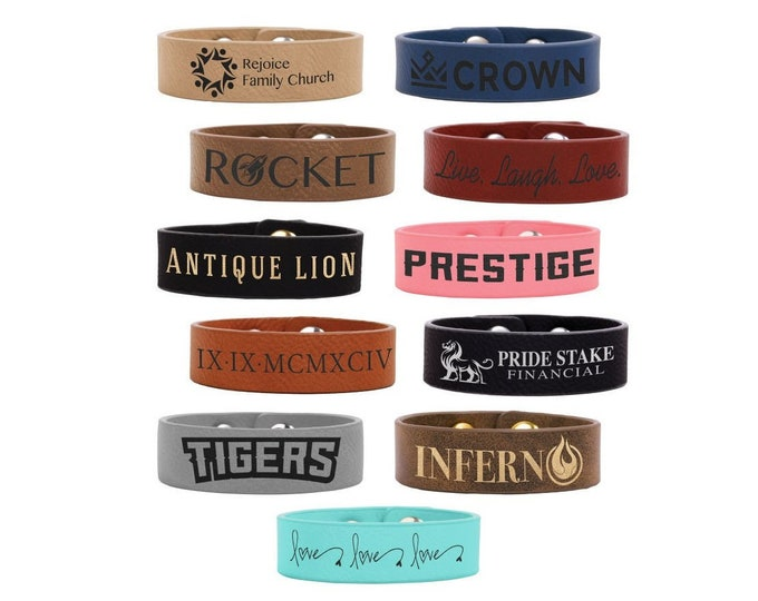 Personalized Youth Leatherette Cuff Bracelet,Your Choice of Image/Words,Laser Engraved,Custom Teens Cuff Bracelet,Personalized Cuff Bracelet