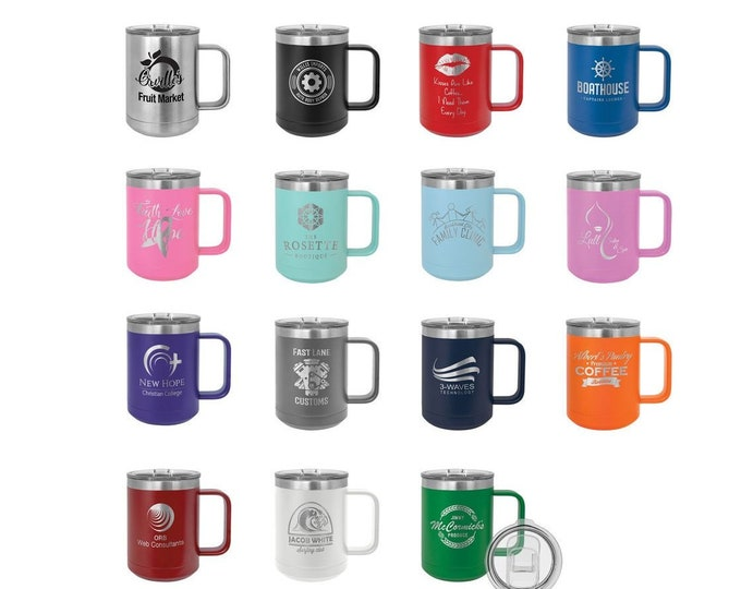 Laser Engraved Mugs, Your Choice of Image/Words, 15 oz. Polar Camel Insulated Stainless Steel, Personalized Mugs, Custom Mugs, Coffee Cups